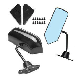 1 Pair Car Universal F1 Style Glossy Black Side Mirror Rear View Mirrors Vintage