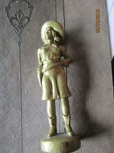 Vintage Antique 5 1 2 Tall Solid Brass Cowgirl With 6 Shooter Annie Oakley Type