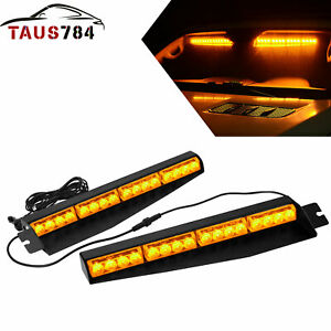 17 96w Amber white Emergency Strobe Warning Flashing Visor Lights Universal