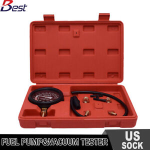 Top Carburetor Vacuum Fuel Pump Pressure Testing Gauge Set Tool Kit W Case New