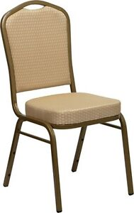 Banquet Chair Beige Patterned Fabric Restaurant Chair Crown Back Stack