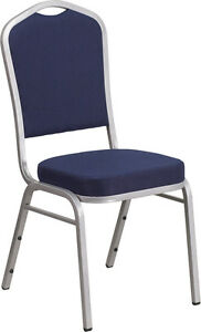 Banquet Chair Navy Fabric Restaurant Chair Crown Back Stacking Chair