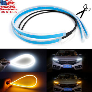 2pcs 60cm Slim Amber Sequential Flexible Led Drl Turn Signal Strip For Headlight