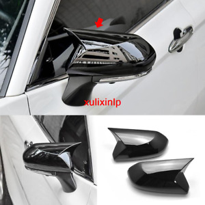 For Toyota 2018 2019 Camry Gloss Black Ox Horn Rear View Mirror Cover Trim 2pcs