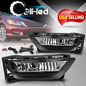 For 2013 2015 Honda Accord Sedan 4 Door Clear Bumper Fog Light Lamps W Bulbs L
