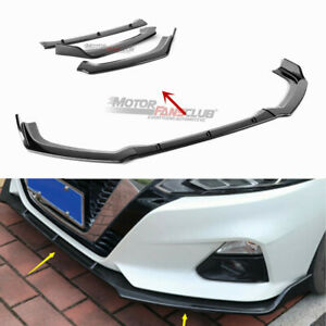 3pcs For Nissan Altima 2019 Carbon Fiber Front Bumper Lip Cover Mouldings Trim