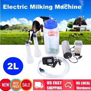 2l Portable Electric Milking Machine Vacuum Pump For Farm Cow Sheep Goat Tank Us