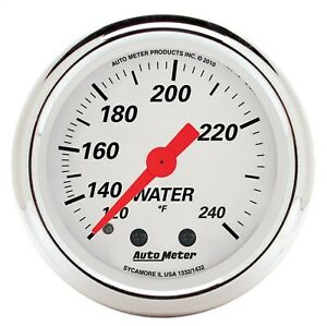 Autometer 1332 Arctic White Mechanical Water Temperature Gauge