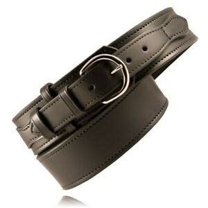 Boston Leather 6570 1 42 n Plain Black Nickel Buckle Riverside Duty Belt 42