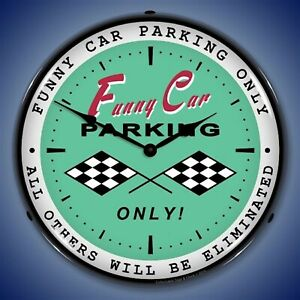 Funny Car Parking Wall Clock Led Lighted Racing Theme