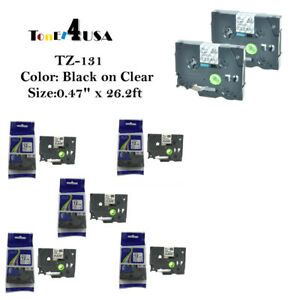 22 Pk Tze131 Tz131 P touch Label Tape 12mm Compatible For Brother Black On Clear
