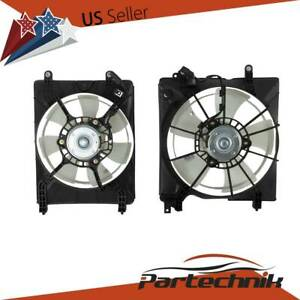1 Set Pair A C Ac Condenser Radiator Cooling Fan Fit Honda Civic 2012 2015