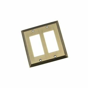 Nostalgic Warehouse 719738 Deco Switch Plate With Double Rocker Antique Brass