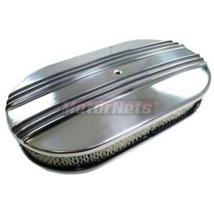 15 Oval Half Finned Polish Aluminum Nostalgia Air Cleaner Hot Street Rod Chevy