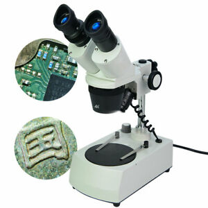 Binocular Stereo Microscope 20x 40x W Top Bottom Led Lights For Pcb Dissecting
