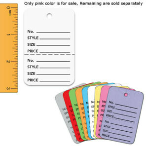 Pink Colored Perforated Large Tags Case Of 1000 Tags
