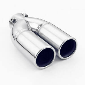 Bolt on 2 15 Inlet Straight Cut Exhaust Tip Twin Round 7 7 Long Tail Pipe