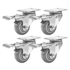 Lot Of 4 3 Caster Wheels Swivel Plate Casters On Grey Pu Wheels With Brake