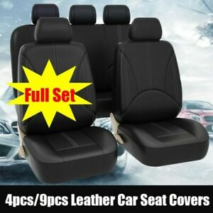 Us 5 sit Car Seat Cover Pu Leather Cushion Front Rear Protector Seat Set Black