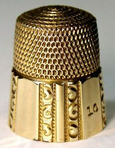 Vintage Simons Brothers Gold Thimble Fluted Octagon