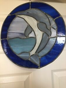 Stained Glass Round Dolphin Handmade 12