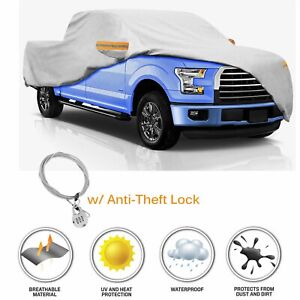 Waterproof Truck Pickup Full Car Cover Fit Ford F 150 W Anti Theft Lock Sliver