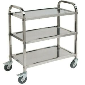 Carlisle Uc4031529 Knockdown Stainless Steel 3 Shelf Utility Service Cart