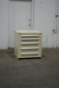 Used Stanley Vidmar 5 Drawer Cabinet 33 High Industrial Bench Storage 1825