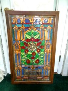 Vintage Wood Framed Leaded Stained Glass Window Hanging 37 X 23 2 65
