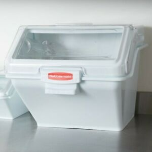 Rubbermaid Commercial Prosave Shelf Ingredient Bin With Scoop 200 cup White