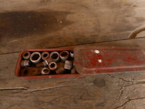 Vintage Socket Set W Red Box Slide Lid Tools Mechanic Garage Rat Rod Accessories