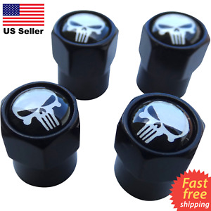 4x Wheel Tire Caps Air Valve Stem Cover Atv Utv Truck Car Punisher Skull