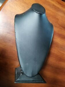 Black Leather Like Necklace Holder Jewelry Display Stand Bust Easel 16 Tall