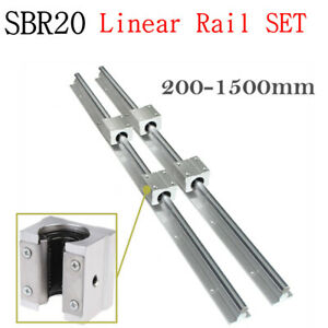 2x Sbr20 200 2000mm Linear Rail Guide Fully Supported 4x Sbr20uu Block Bearing