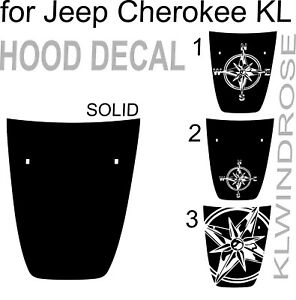 For Jeep Cherokee Kl Hood Decal Graphics Wind Rose Vinyl Black Wrap New Kit