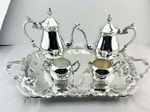 Fb Rogers Silver Footed Coffee Tea Set Silver Footed Butler Tray 5pc Beauty