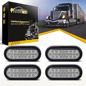 4x Oval Clear white Truck Trailer Stop Tail Reverse Light Flush Mount 6 24led