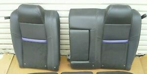 Dodge Challenger Rear Leather Suede Seat Upper Back Set Black Purple 08 09 10