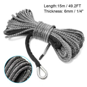 15m 6mm Nylon Synthetic Winch Line Cable Rope 5000 5700lbs 2 5t For Car Atv Utv