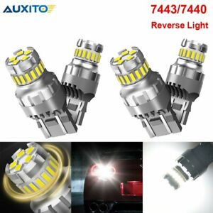 4x 7443 7440 Led Backup Reverse Light Bulbs 6500k Bright White Canbus Smd Lamps