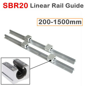 2x Sbr20 Linear Rail Slide Guide Shaft 200 2000mm With 4x Sbr20uu Block Bearing