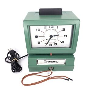 Acroprint Time Recorder 125nr4 Industrial Manual Print Punch Stamp Clock W Key