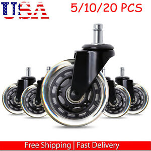 5pc Office Chair Caster Rubber Swivel Wheels Replacement Heavy Duty 3 Inch