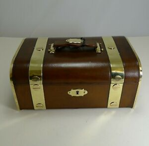 Fine Large Antique French Leather And Brass Jewellery Box C 1890