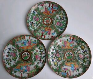 Antique 19th C Chinese Export Rose Medallion 8 5 Plate Hand Painted Set Of 3