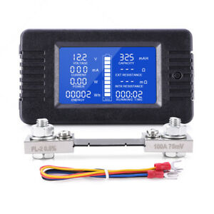 Lcd Display Dc Battery Monitor Meter 0 200v Voltmeter Ammeter Fit Cars Rv Solar