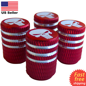 4x Punisher Skull Wheel Tire Caps Air Valve Stem Cover Bike Trucks Car red