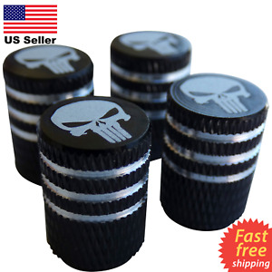 4x Punisher Skull Wheel Tire Caps Air Valve Stem Cover Car Trucks Bike Black