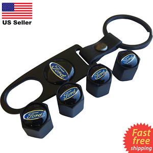 4x Ford Wheel Tire Cap Air Valve Stem Cover Belt Keychain Black