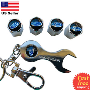 4x Ford Tire Valve Cap Air Valve Stem Cover Wrench Keychain Silver